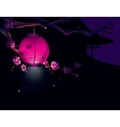 Sakura and paper lantern vector image