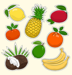 set of tropical and citrus fruit stickers vector image