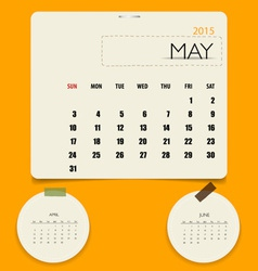 2015 calendar monthly calendar template for May vector