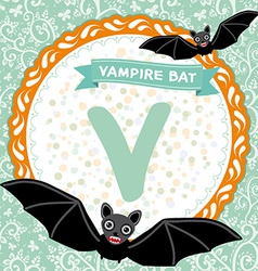 ABC animals V is vampire bat Childrens english vector image