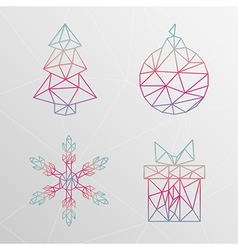 Abstract geometric christmas tree snowflake gift vector