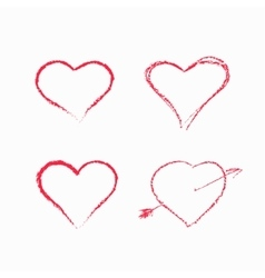 Abstract white heart shapes set vector image