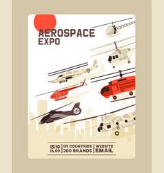Aerospace expo invitation aircraft exhibition vector