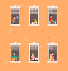 Apartment building facade with neighbor people in vector