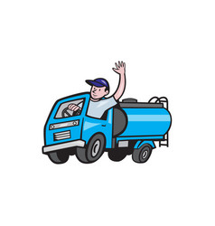 Baby tanker truck driver waving cartoon vector