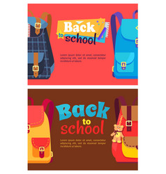 Back to school poster with schoolchild rucksack vector