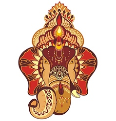 Beautiful hand-painted elephant with ornament vector