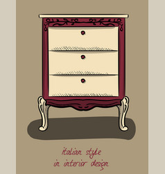 bedside table in purple and beige colors italian vector image