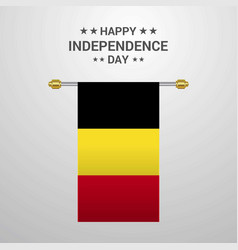 Belgium independence day hanging flag background vector