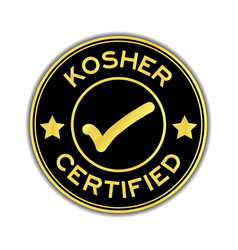 Black and gold color kosher certified word round vector