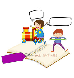 Blank notebook with two boys and train background vector