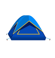 Bright blue tourist tent icon isolated on white vector