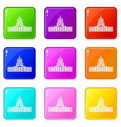 Capitol icons 9 set vector