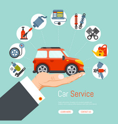 Car garage service repair station banner mechanic vector