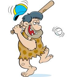 Cartoon caveman hitting a baseball vector