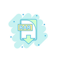 Cartoon colored rar file icon in comic style rar vector