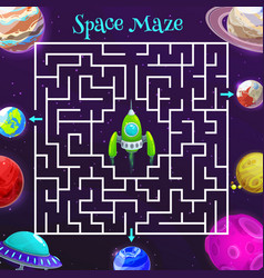 cartoon space labyrinth maze game kids education vector image