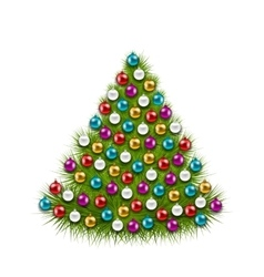 Christmas Tree Decorated Colorful Balls vector