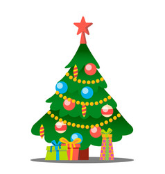 christmas tree with gifts merry christmas vector image