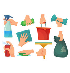 Cleaning products in hands hand hold detergent vector