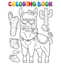 coloring book llama with love glasses 1 vector image