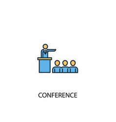 conference concept 2 colored line icon simple vector image
