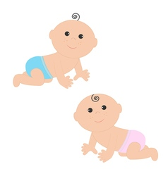 Cute baboy and girl crawling in pink blue vector