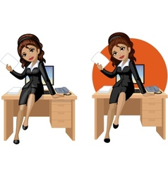 Cute young Indonesian office woman sitting on vector image