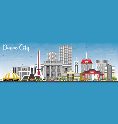 Davao city philippines skyline with gray vector