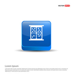 dice icon - 3d blue button vector image
