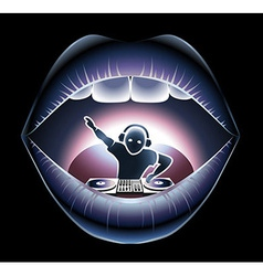 DJ in a mouth vector