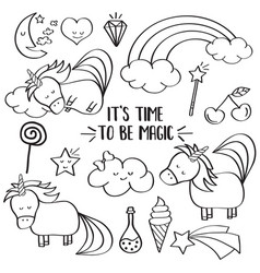 doodle items collection with unicorns and other vector image