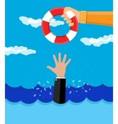 Drowning businessman gets a lifebuoy vector