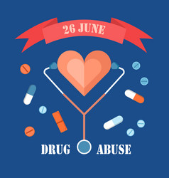 Drug abuse day 26 june banner isolated on blue vector