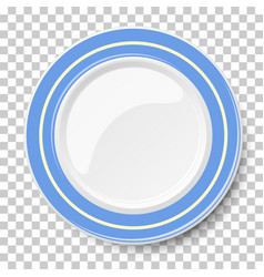 Empty dish with blue border isolated on a vector