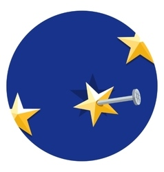 European Union star nailed to a blue background vector image