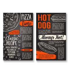 Fast food pizza and hot dog menu chalkboard poster vector