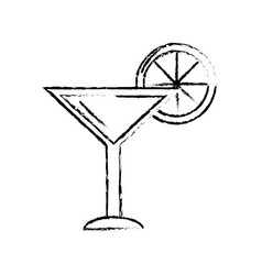 Figure delicious cocktail with slice of lemon to vector