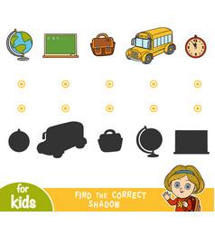 find correct shadow cartoon school objects vector image