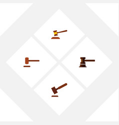 flat icon hammer set of defense justice hammer vector image