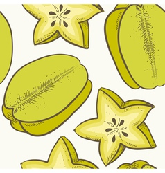 Fruit seamless pattern with green caram vector