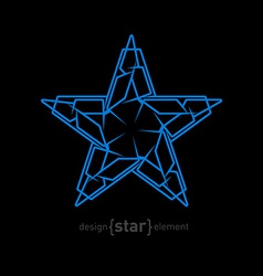 Futuristic star abstract design element on black vector