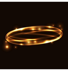 Gold circle light tracing effect vector image
