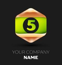 green number five logo in golden-green hexagonal vector image