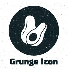 Grunge avocado fruit icon isolated on white vector