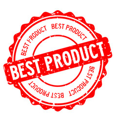 Grunge red best product word round rubber seal vector