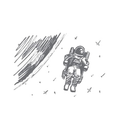 hand drawn astronaut floating in outer space vector image