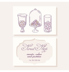 Hand drawn candy bar business card template for vector image