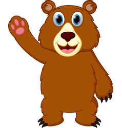 happy bear cartoon waving hand vector image