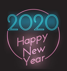 Happy new year neon style background vector